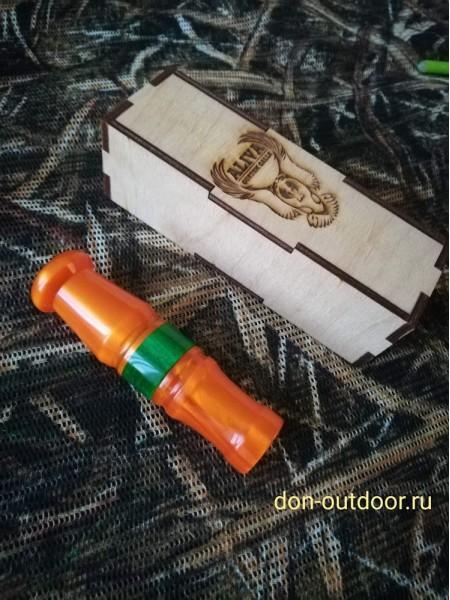 Манок на белолобого гуся акрил, оранжевый перламутр, Aliva Custom Calls
