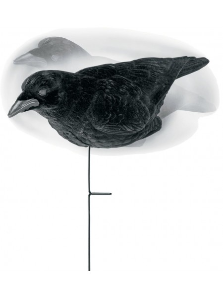 Чучело ворона Lucky duck, флоковое антибликовое покрытие, на стойке